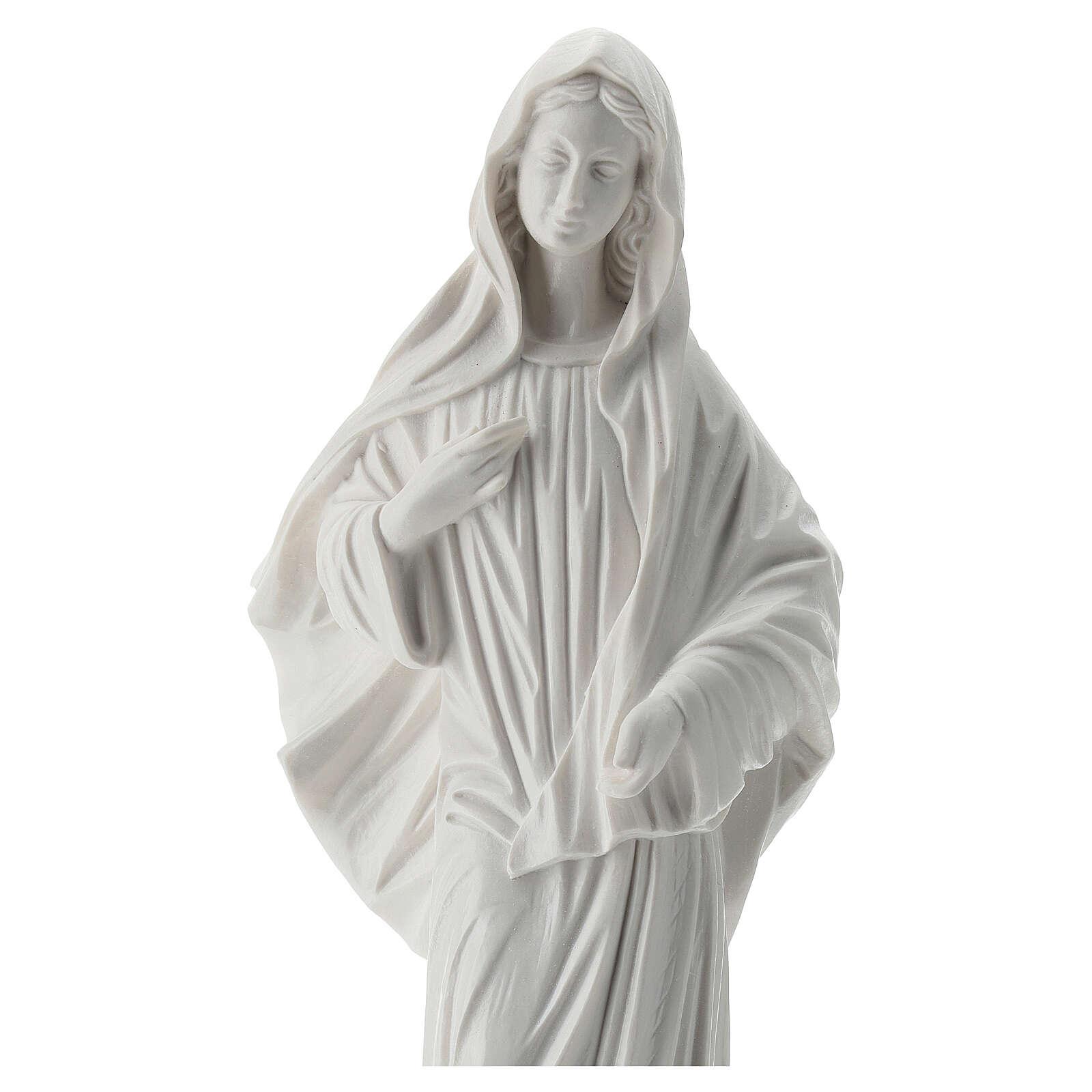 Madonna di Medjugorje polvere di marmo 30 cm bianco ESTERNO 4