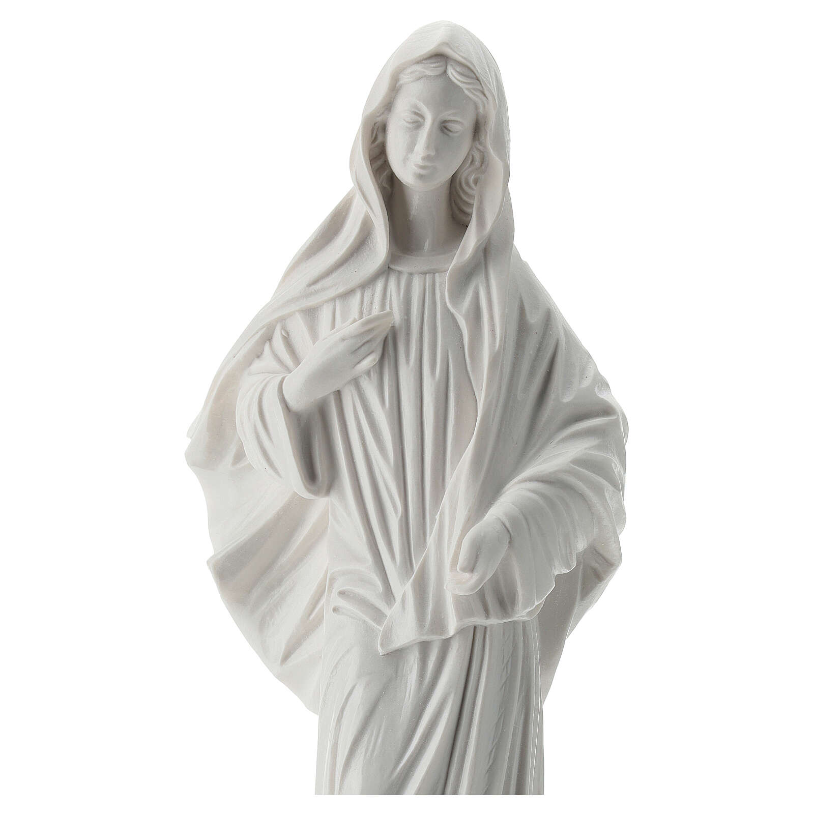 Our Lady Queen of Peace white statue reconstituted marble 30 cm OUTDOORS 4
