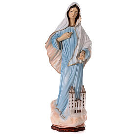Madonna Medjugorje polvere marmo chiesa dipinta 100 cm ESTERNO s1