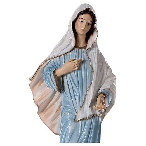 Virgen de Medjugorje pintada polvo de mármol 90 cm EXTERIOR