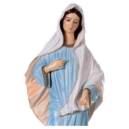 Virgen de Medjugorje vestido azul polvo de mármol 120 cm EXTERIOR