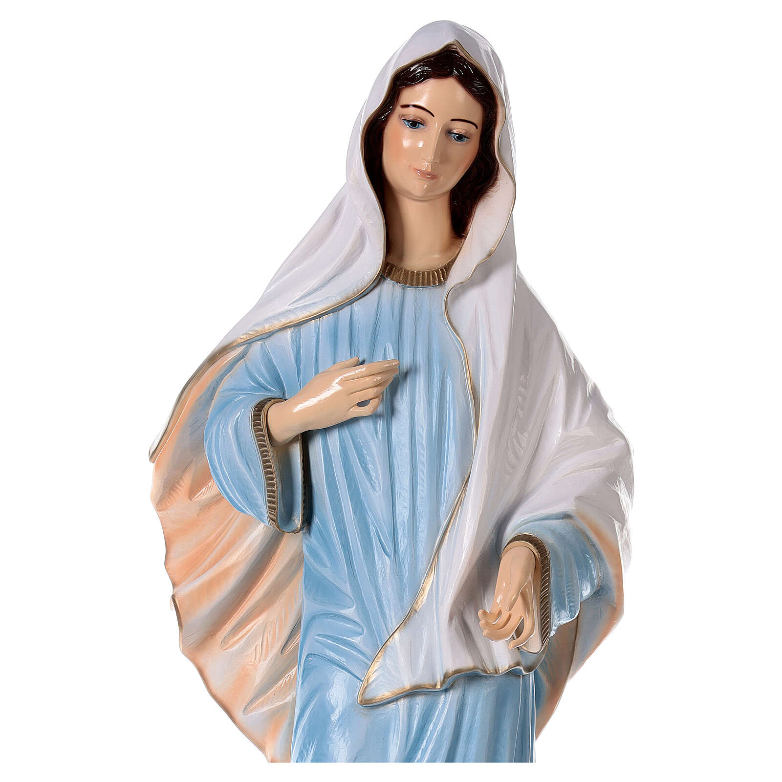 Our Lady of Medjugorje in reconstituted marble with light blue dress 47 inc OUTDOOR 4