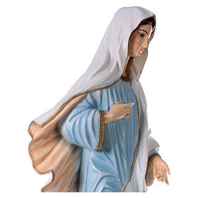 Our Lady of Medjugorje in reconstituted marble with light blue dress 47 inc OUTDOOR s6