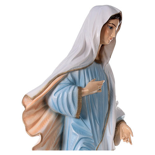 Our Lady of Medjugorje in reconstituted marble with light blue dress 47 inc OUTDOOR 6