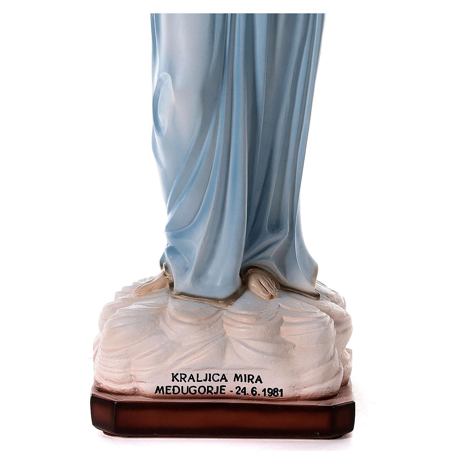 Madonna Medjugorje tunica azzurra polvere marmo 82 cm ESTERNO 4