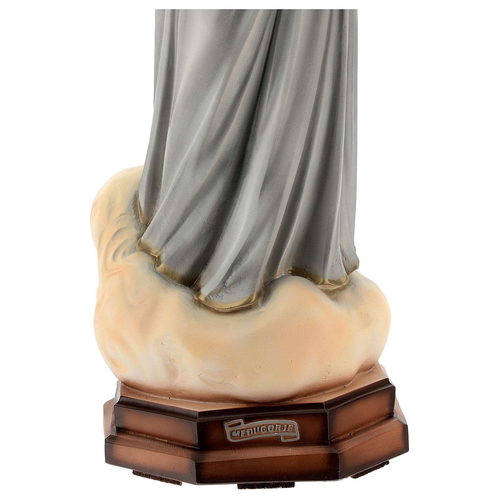 Madonna Medjugorje abiti grigi polvere di marmo 60 cm ESTERNO 4