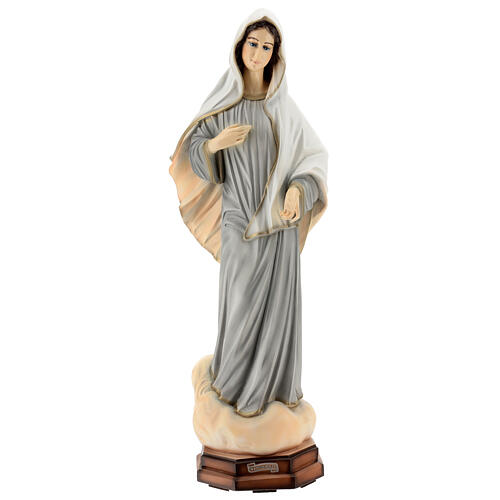Madonna Medjugorje abiti grigi polvere di marmo 60 cm ESTERNO 1