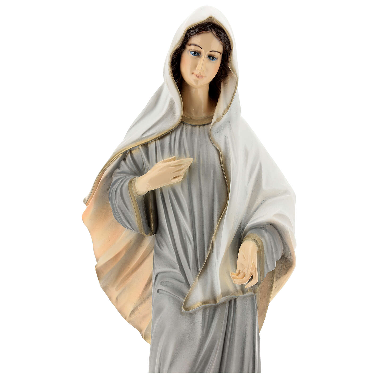 Statue of Lady of Medjugorje grey tunic reconstituted marble 60 cm OUTDOORS 4