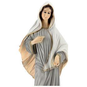 Statue of Lady of Medjugorje grey tunic reconstituted marble 60 cm OUTDOORS s2
