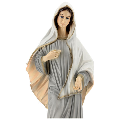Statue of Lady of Medjugorje grey tunic reconstituted marble 60 cm OUTDOORS