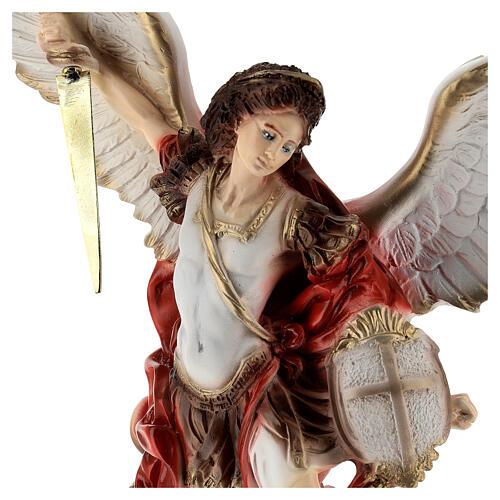 Saint Michel Archange statue poudre de marbre 40 cm EXTÉRIEUR