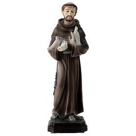 Statua San Francesco colombe polvere di marmo 30 cm ESTERNO