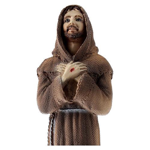 Imagem São Francisco mãos cruzadas pó de mármore 25x7x6 cm