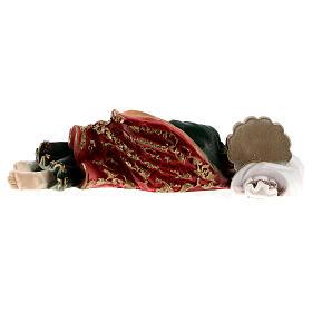 Schlafender Sankt Joseph aus Marmorpulver, 12 cm s5