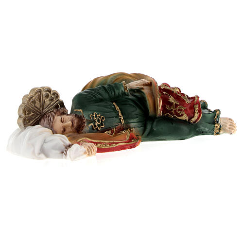 Schlafender Sankt Joseph aus Marmorpulver, 12 cm 3