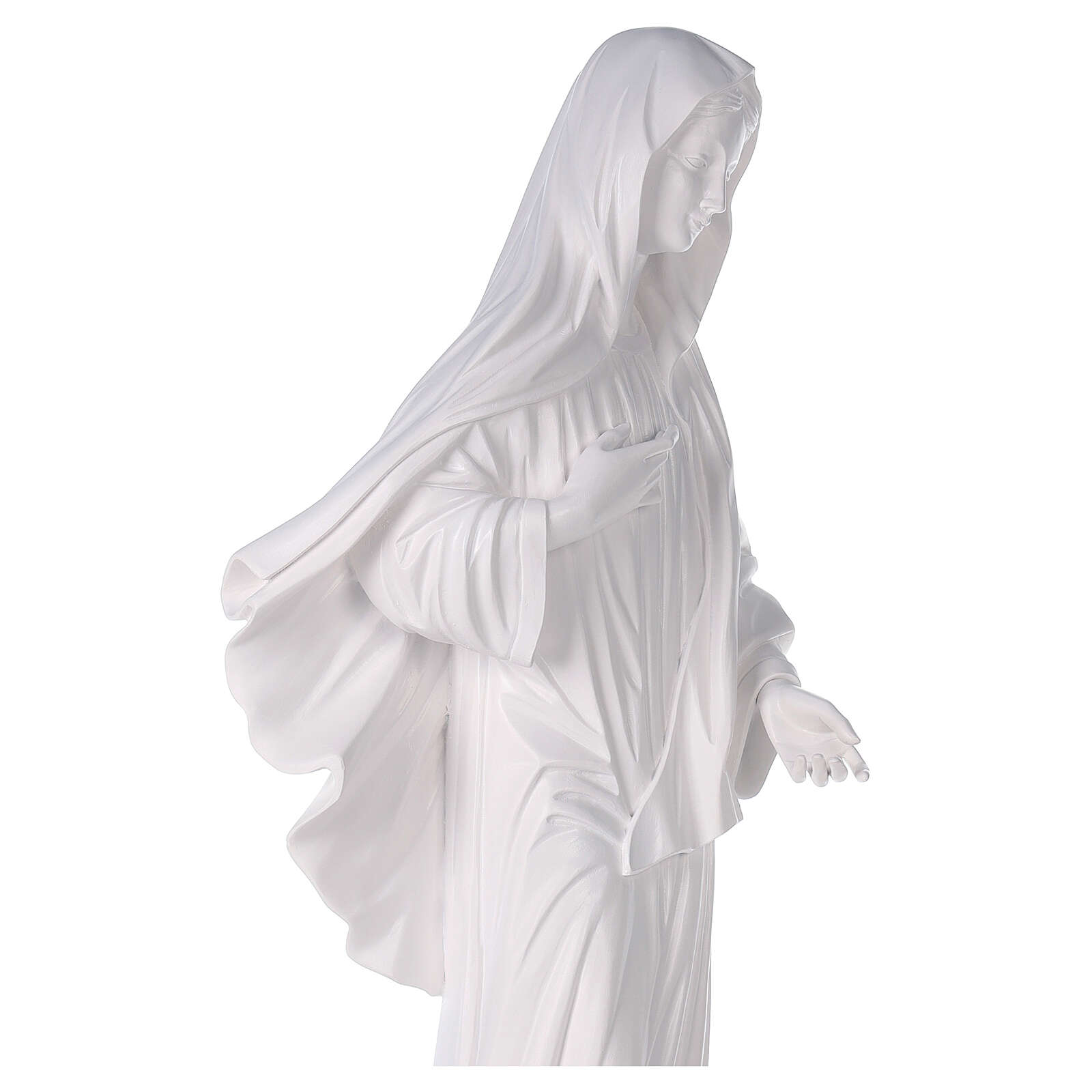 Our Lady of Medjugorje statue reconstituted marble with church 90 cm OUTDOOR 4