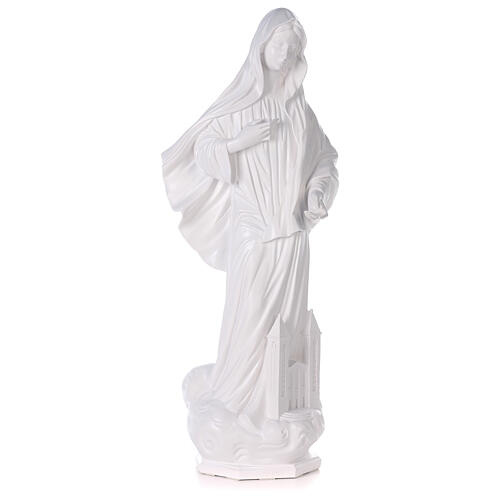 Our Lady of Medjugorje statue reconstituted marble with church 90 cm OUTDOOR 1