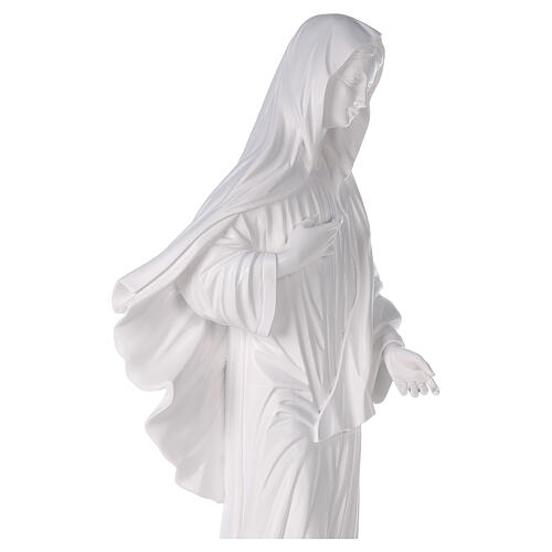Our Lady of Medjugorje statue reconstituted marble with church 90 cm OUTDOOR 5