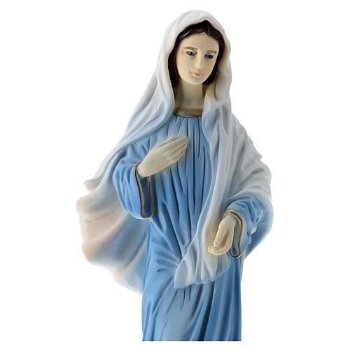 Virgen de Medjugorje polvo de mármol vestido azul 20 cm