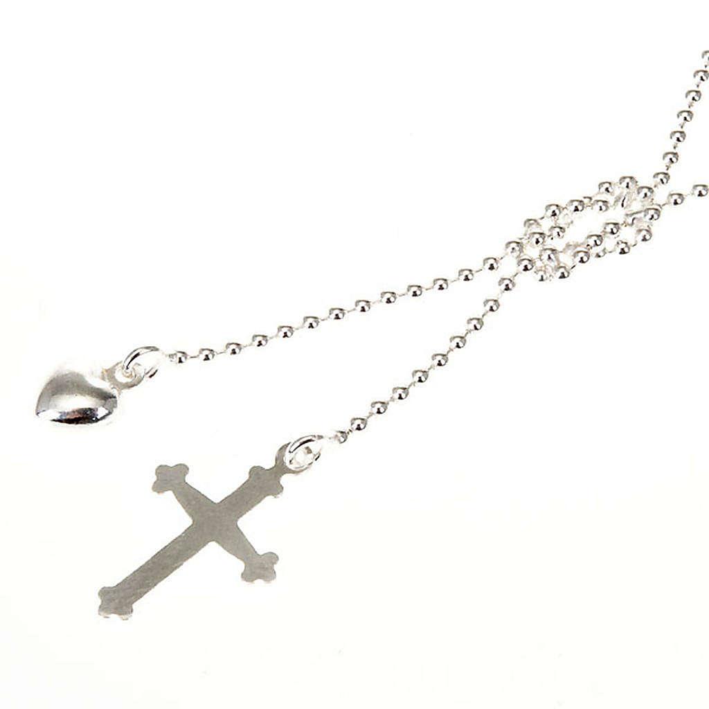 Collar plata con corazón y cruz 4