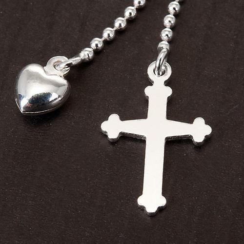 Collar plata con corazón y cruz 2
