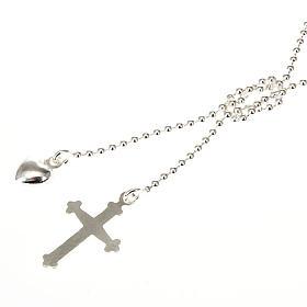 Collier argent 925 avec croix et coeur s1