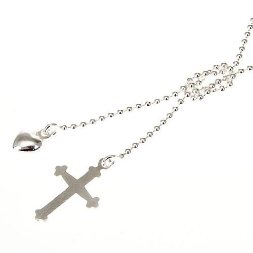 Collier argent 925 avec croix et coeur 1