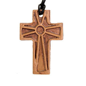 Ceramic cross pendant decorated s3