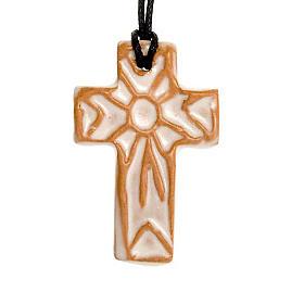 Ceramic cross pendant decorated s4