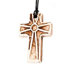 Ceramic cross pendant decorated s5