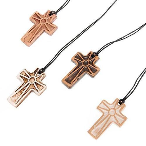 Ceramic cross pendant decorated 1