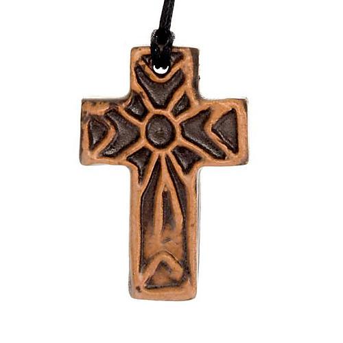 Ceramic cross pendant decorated 2
