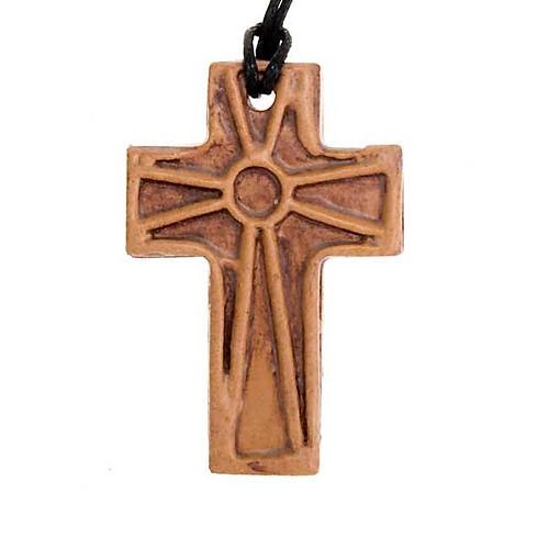 Ceramic cross pendant decorated 3