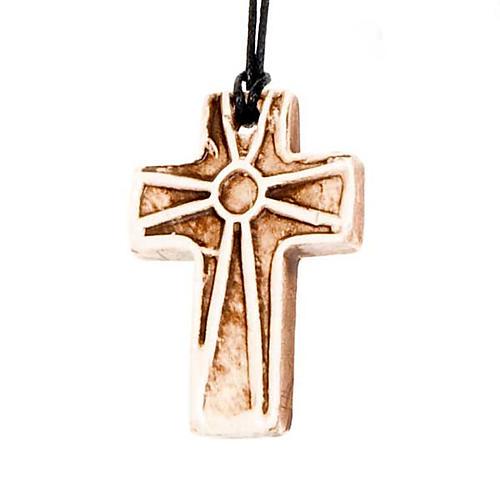 Ceramic cross pendant decorated 5