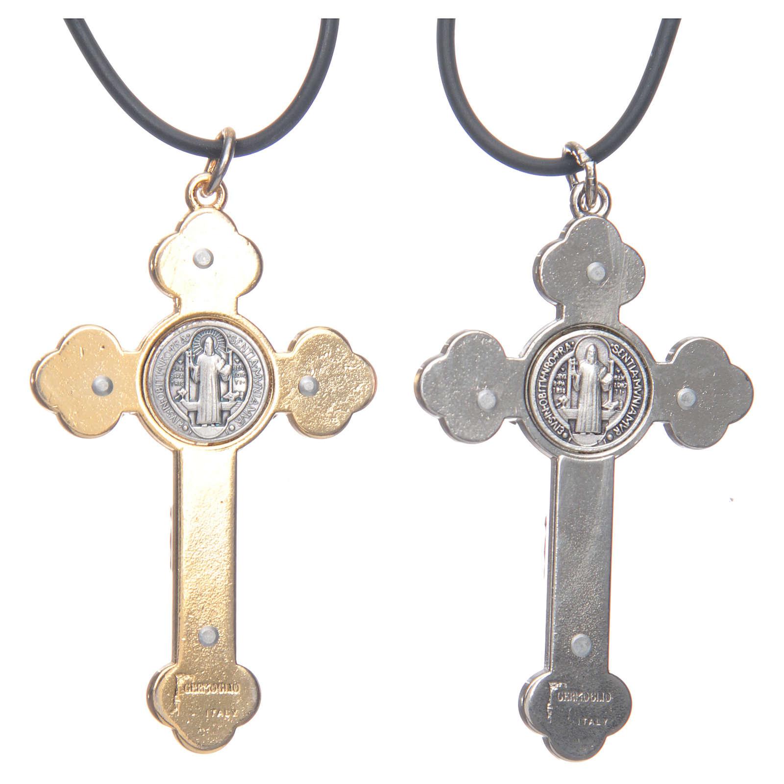 Collier croix gotique St Benoit rose 6x3 4