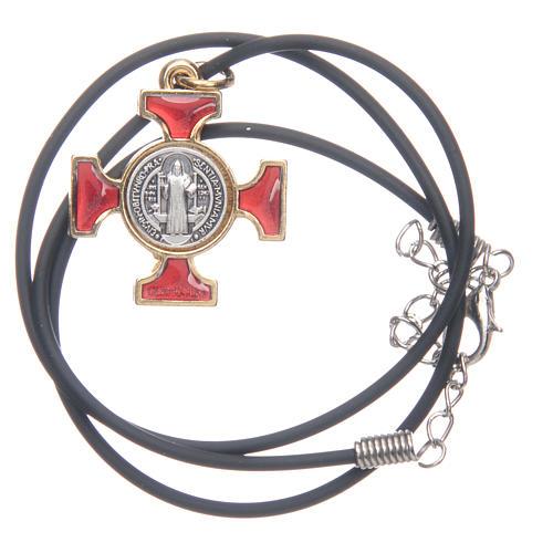Collier croix celtique St Benoit rouge 2.5x2.5 3
