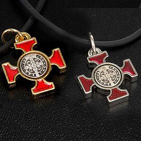 Necklace with St. Benedict Celtic cross, red 2.5x2.5cm s5
