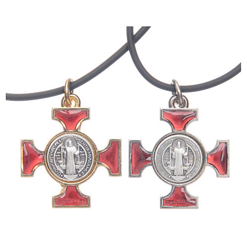 Necklace with St. Benedict Celtic cross, red 2.5x2.5cm 1
