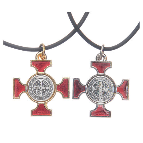 Necklace with St. Benedict Celtic cross, red 2.5x2.5cm 2