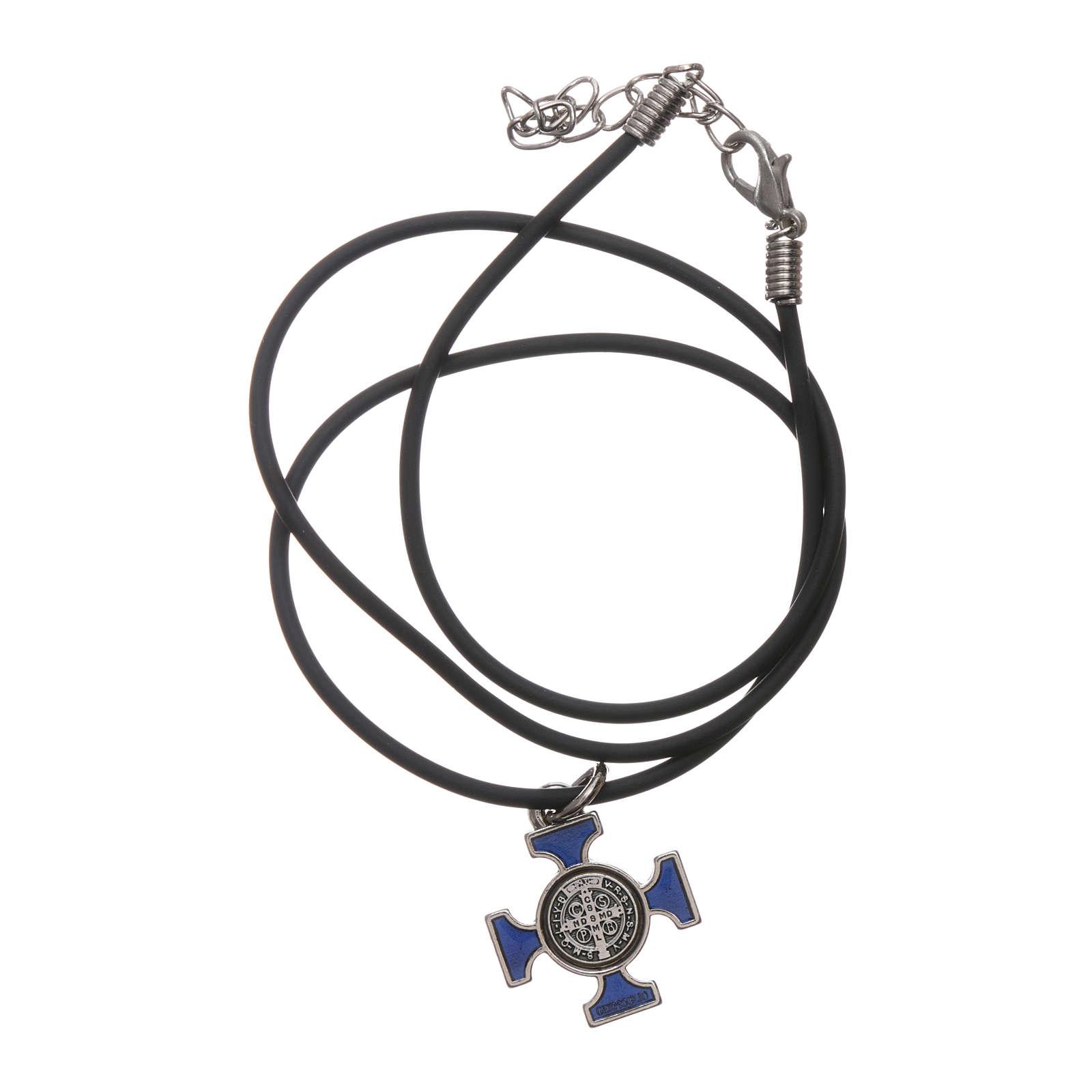 Kette Kreuz Heilig Benediktus keltisch Blau 2x2 4