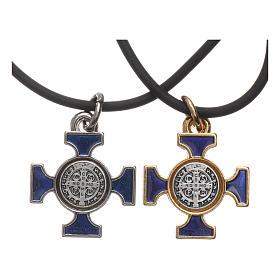 Kette Kreuz Heilig Benediktus keltisch Blau 2x2 s2