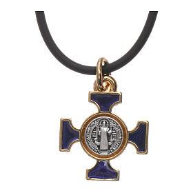Necklace with St. Benedict Celtic cross, blue 2x2cm s3