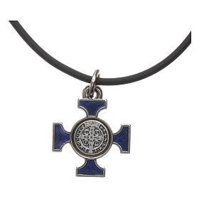 Necklace with St. Benedict Celtic cross, blue 2x2cm s4