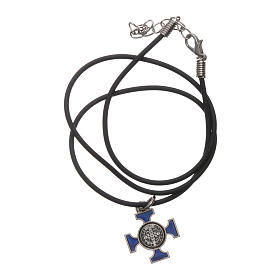 Necklace with St. Benedict Celtic cross, blue 2x2cm s5