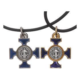 Pendenti croce metallo: Collana croce San benedetto celtica blu 2x2