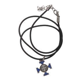 Collana croce San benedetto celtica blu 2x2 s5