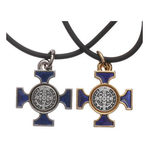 Collana croce San benedetto celtica blu 2x2 2