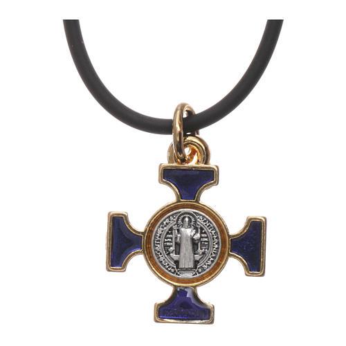 Collana croce San benedetto celtica blu 2x2 3
