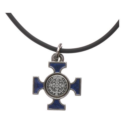 Collana croce San benedetto celtica blu 2x2 4