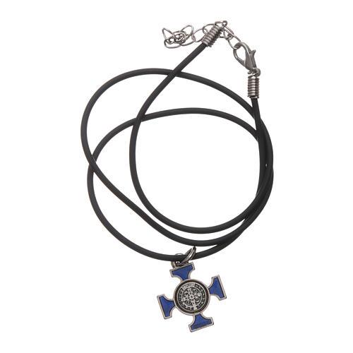 Collana croce San benedetto celtica blu 2x2 5